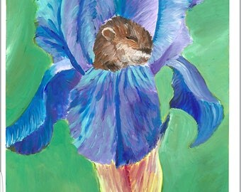 Little Mouse In A Flower Acrylic Painting Print