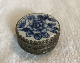 Silver and Blue Floral Trinket Box