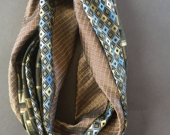 Silk Infinity scarf made from recycle neck ties