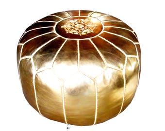 Golden Faux Leather Moroccan Pouf Ottoman style