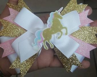 Unicorn hair bow..hair bows..unicorn inspired hair bow..cute hair bows..stacked hair bows...hair bows..bows
