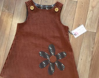 Rust Brown Corduroy Pinafore. Size 5