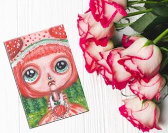 Strawberry Shortcake Childrens art original illustration aceo atc artwork acrylic paint