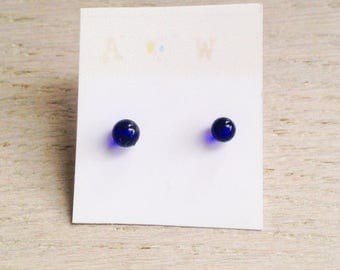 Glass earrings/tiny earrings/glasses accessories/mother day/teacher present/blue earrings/special present