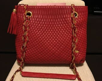 Authentic Bally Quilted Chain Vintage Bag