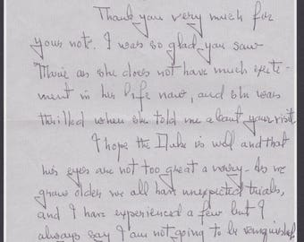 Autograph letter from Mrs. Rose Kennedy (1890-1995) to the Duchess of Windsor in Paris.