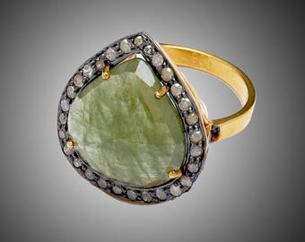 Diamond Ring with Green sapphire