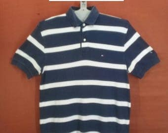 Vintage Tommy Hilfiger Tshirt Smart Polo Shirt Dark Blue White Stripes Colour Size M Polo Ralph Lauren Shirts Tommy Hilfiger Sailing Gear