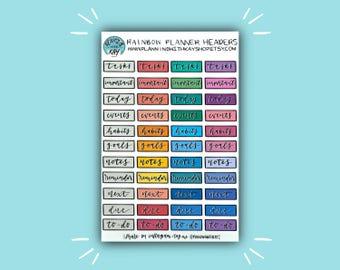 Rainbow Planner Headers | Header Planner Sticker | Bullet Journal Stickers | Stickers for Planners & Journals | Journaling Supplies