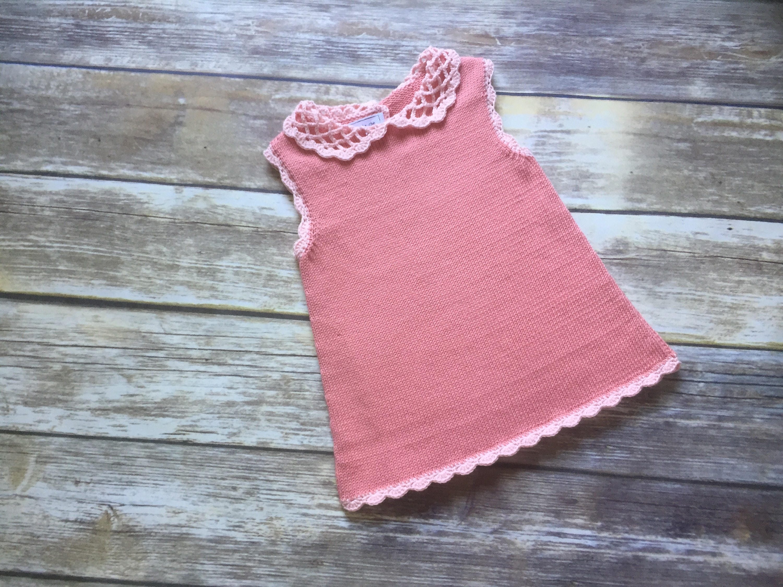Organic cotton knitted baby dress 6 12m crochet collar