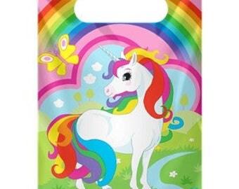 8 Rainbow Unicorn Party Bags, Loot Bags, Unicorn Party, Rainbow Party, Birthday Confetti, Birthday Party, Rainbow Birthday, Unicorn Birthday