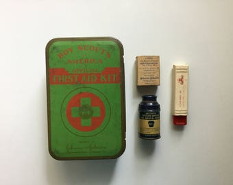 Boy Scouts of America Official First Aid Kit - Johnson and Johnson First Aid Kit - Vintage First Aid Kit Tin 1950s