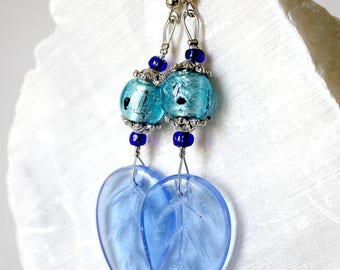 Earrings big blue leaves