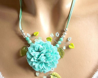 Jewelry flower Necklace blue and green leaves.