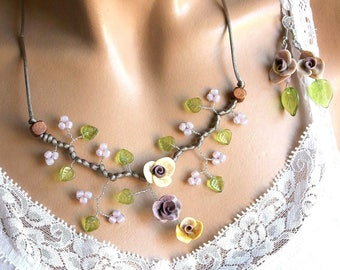 Purple and green floral jewelry set