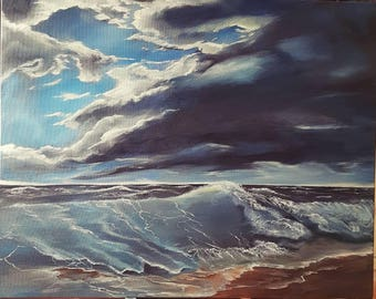 Stormy Sea, Original Canvas Art, Acrylic Art, Wall Art
