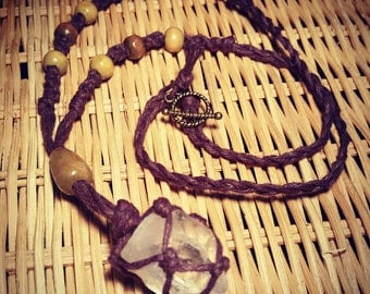 Quartz Crystal & Hemp Necklace