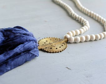 Sari Tassel Necklace, Navy and Gold