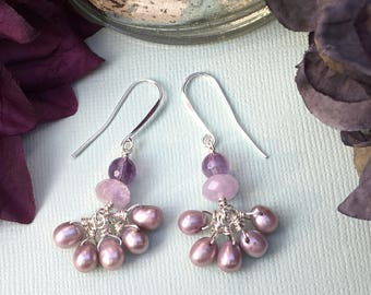 Freshwater Pearl Earrings Amethyst Dangle Earrings Ultraviolet Earrings Purple Drop Earrings Pearl Cluster Earrings Sterling Silver