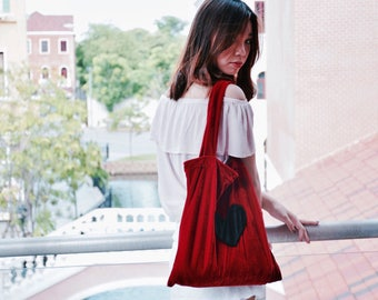 Tote bag in Red with Black Heart // Velvet tote//Cute