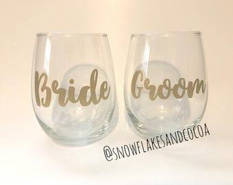Bride and Groom Stemless Wine Glass Set