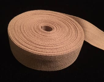 "Tan/Beige Twill Tape, 100% Cotton Twill Tape, 3/4"" Wide, 6 yards and 15 inches"
