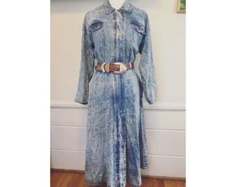 1980's acid wash denim dress. Size XL.