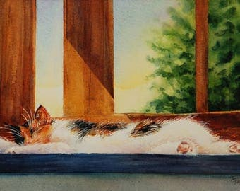 Lazy Afternoon, Original Watercolor