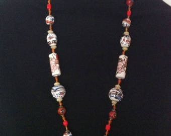 Hand Made Painted Clay Bead Long Necklace