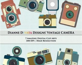 Assorted Vintage Camera Clip Art, Vintage Camera Icons, Old Camera Clip Art, Polaroid Clip Art, Polaroid Camera Digital , Vector Camera
