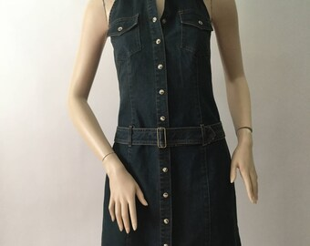 Moda International Blue Jean Denim Stretch Halter Dress Size 8