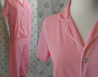 1960s bubblegum pink pajama set