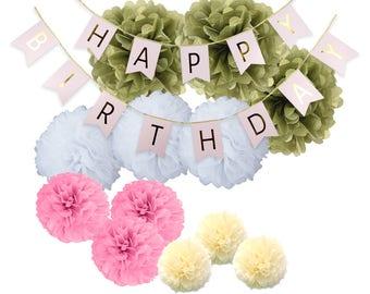 Birthday Party Decoration Happy Birthday Bunting Banner Pom Poms (glod pink)