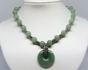 Necklace light green aventurine gemstone with donut pendant