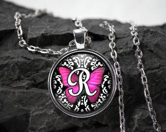 Butterfly initial Glass Pendant butterfly necklace butterfly jewelry butterfly gift photo pendant art pendant photo jewelry glass jewelry
