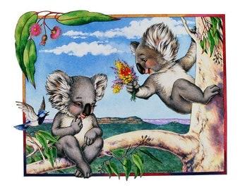 Koala Kourtship Archival Quality Print, Australian Art, Koala Illustration, Fine Art