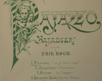 Bajadser Prolog, sheet music by R. Leoncavallo, Denmark, c1950s, good shape, Vintage, Erik Bogh