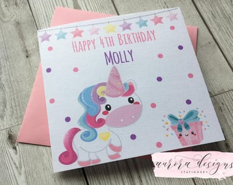 Personalised Cute Unicorn Girls Birthday Greeting Card ~ daughter ~granddaughter ~niece ~cousin~goddaughter
