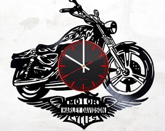 Harley Davidson Vinyl Record Wall Clock - Get unique Living Room wall decor - Gift ideas for boys, men – Bike Unique Modern Art