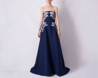 Hand painted silk dress - free shipping - long evening dress ;  strapless ball gown ; romantic details