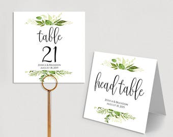 Personalized Table Numbers Printable Wedding Table Numbers Wedding Table Number Template Folded Double Sided PDF Instant Download Greenery