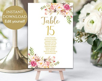 Wedding Seating Chart Template Wedding Seating Chart Cards Printable Table Numbers Floral Table Cards PDF Instant Download DIY Pastel Blooms
