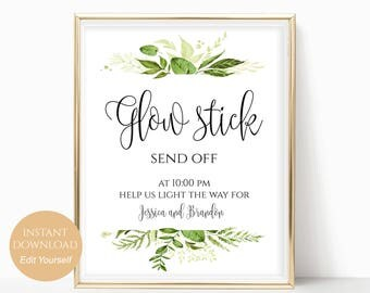 Personalized Send Off Sign Glow Stick Send Off Glow Stick for Wedding Glow Stick Sign Glow Sticks for Wedding Send Off 8x10,5x7,4x6 Greenery