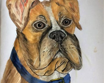 Original Watercolour of Boxer Dog