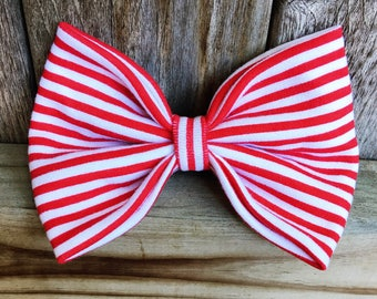 Red and White Stripe Bow