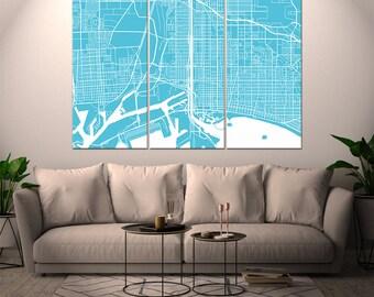Long Beach California / City Map / Canvas Print / Wall Art / Large 3, 5 or 6 panel