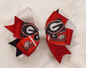 Georgia Bulldogs Small Stacked Bow