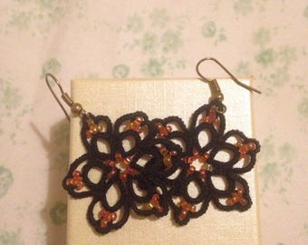 Beaded crochet earrings Orange