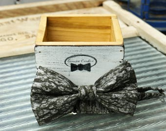 Grey Tree Bow Tie Handmade