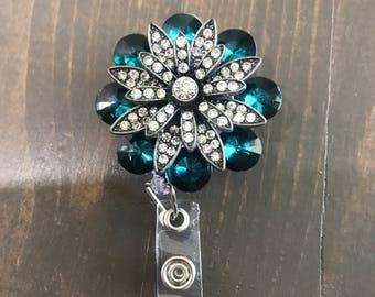 Blue green rhinestone retractable badge clip